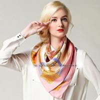 90x90cm hot sale pure silk pink foulard chain scarf  square  women free shipping