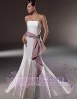 2013 New  Arrival Meidi boutique     belt satin fish tail slim tube top fromal sexy Wedding dress