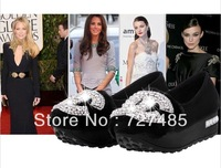 New winter fashion shiny black female elevator shoes slope with flat heels free shipping brand flats women shoes
