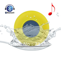 Mini Waterproof Wireless Bluetooth Handsfree Mic Suction Speaker Shower Car mic Yellow