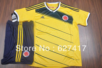 The Global Free shipping National team jersey-Grade A 13-14 Colombia home yellow jersey Top thai quality jersey Football suit