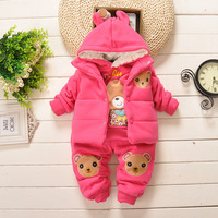 Winter plus velvet thickening sweatshirt set child winter piece set baby clothes