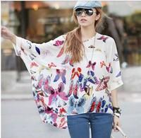 2014 New fashion Womens Ladies Blouses Bohemian Chiffon Butterfly Print Blouse Shirts 5XL women casual blusas femininas Shirt