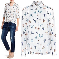CS0499 new 2013 fashion leisure Blouses women  turn-down collar Long sleeve elegant animal print bird shirt female top