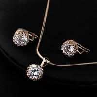 Fashion Italina Women Cubic Zirconia 18K Gold Plated Jewelry Set