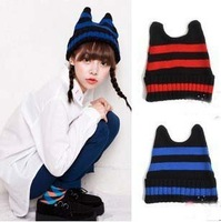 Free Shipping 2013 ladies knitting cap Super cute cat ear ladies winter hat women Knitted wool devil stripe beanie hats HAT014