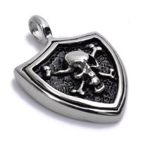 Min order $15, can mix Stainless Steel Silver Colour Skull Cross Mens Pendant Necklace P986