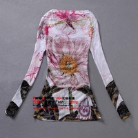 2013 autumn and winter thin peones sparkling diamond double faced multicolour print slim o-neck long-sleeve basic T-shirt