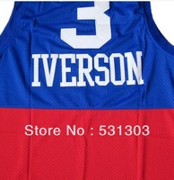 Top Quality ! Philadelphia #3 Allen Iverson Black/Blue/White/Red College Basketball Jerseys Embroidery Sewn logos