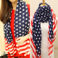 Scarf silk scarf female autumn and winter the american flag ultralarge dual-use design long scarf cape muffler scarf female