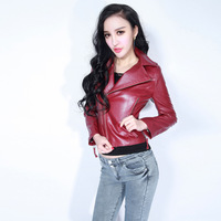 Fashion motorcycle leather clothing slim short design leather clothing outerwear zipper decoration large lapel slim waist sexy