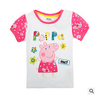2014 new girl clothing t shirt 1pcs Free shipping, Peppa Pig T shirt for girl, short sleeve, 100% cotton