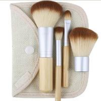 4pcs Bamboo Elaborate Handle Hessian Bags Brush Sets Loose Paint Makeup Cosmetic Brushes MU-0503