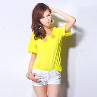 2013 autumn puff sleeve fashion sweet strapless slim short-sleeve top t-shirt