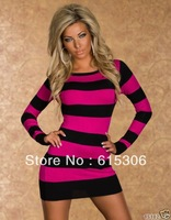 Free Shipping  Newly Design 2014 CPAM Free Shipping Cheap Tunic with Pink Accent Sexy Mini Dress