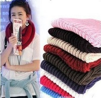 Fashion Women Warm Knit Neck Circle Wool Blend Cowl Snood Long Scarf Shawl Wrap 613
