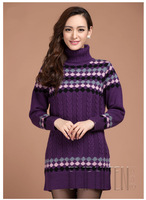 100% Pure Wool 2013 autumn and winter women's turtleneck plaid pattern medium-long pure wool sweater free shipping