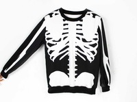 White Skeleton GU  women's 3D hoodies Sweatshirt Pullover Ourwear Punk style for Lady's