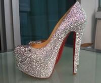 Free shipping Fashion designer Women's Pumps crystal rhinestone Platform High Heels shoes wedding pumps evening shoes boots