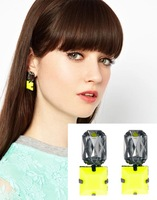 Free shipping(MOQ 10$ Mix)PE158 European Brand Square Neon Color Crystal Acrylic Alloy Women Drop Earring  Wholesale