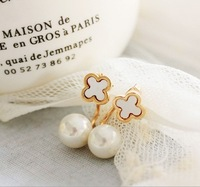 Free shipping(MOQ 10$ Mix)PE163 Exqusite 18KGP Four Leaf Clover Shell Pearl Women Drop Earring Wholesale