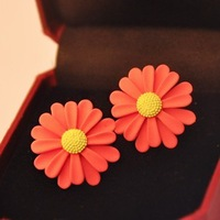 Free shipping(MOQ 10$ Mix)PE047 Lovely Fresh Neon Color Sun Flower Women Stud Earring Wholesale