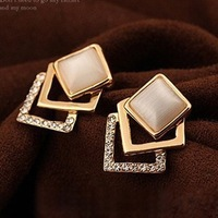 Free shipping(MOQ 10$ Mix)PE088 Exqusite Hollow Square Stack Simulated Diamond opal Gold Plated Stud Earring Wholesale
