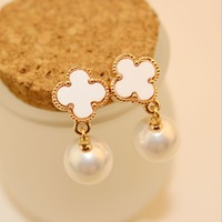 Free shipping(MOQ 10$ Mix)PE156 Elegant Clover Pearl Arcylic Women Drop Earrings  Wholesale