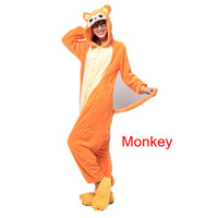 The new hot flannel pajamas cartoon animal piece pajamas for men and women the same paragraph Autumn and winter/ Monkey