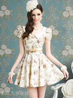 Summer Girls' A-Line Puff Sleeve Dress Print Cute Young Ladies' fashion Princess Dress for parties high quality Beige S M L XL