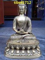 "13""  33 cm tall Tibetan Buddhist bronze amitabha buddha statue with double lotus bass"