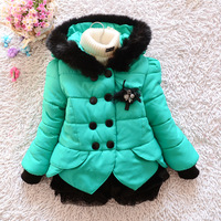 2014 New winter girls kids cotton-padded coat baby girls warm woolen wadded outerwear children's clothing hooded cotton-padded