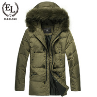 Free shipping !!! Men's long section thick warm fur collar detachable business casual winter jacket coat XL / M-XXL