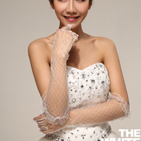 Fashion transparent lace white wedding dress gloves/Bridal gloves