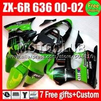 Fairing +7gifts For KAWASAKI NINJA new green ZX6R Q7360 ZX636 ZX-636 ZX-6R ZX 6R 6 R 636 2000 2001 2002 green black 00 01 02