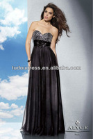 New Arrival Fashion Formal Elegant Sexy Crystals Beaded Sweetheart Backless Black Long Ladies Birthday Party Prom Dresses