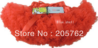 lovely baby girl fluffy chiffon red pettiskirt for 2-8Y girls Christmas costume free shipping