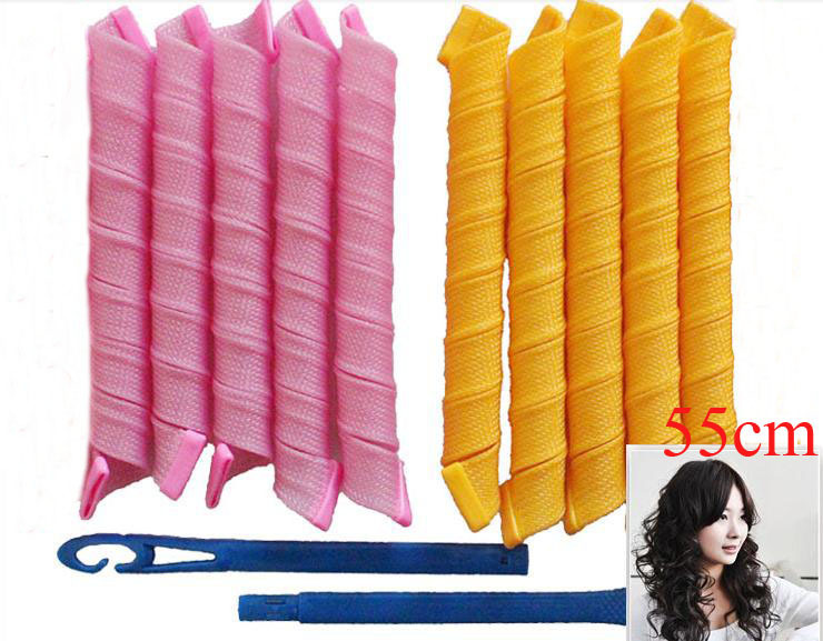 2014 Hot Selling Curlers magic hair curler stick products TV shopping DIY hair curlers 55cm long 10pcs+hook=1 pack(China (Mainland))