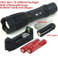 Ultrafire 2000 Lumens 7 Mode E007 Zoomable CREE XM-L T6 LED 18650 AAA Flashlight Torch Zoom Lamp Light+2*18650 Battery + Chrger