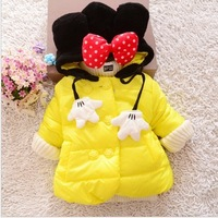 4 colors new mickey mouse girls kids winter coat outwear baby girls warm thicken cotton-padded clothes child woolen clothing
