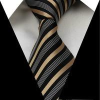 New Black Gold Striped 3.4'' 100% Silk Jacquard Woven Man's Tie Necktie FS118