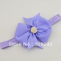 Wholesale DIY 10CM Grosgrain ribbon bows pearl centre shimmery soft stretchy Elastic Headbands hair accessories 150pcs/lot