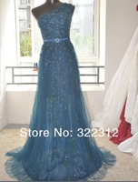 Elie Saab Couture One Shoulder Beads Lace Formal Evening Prom Dress