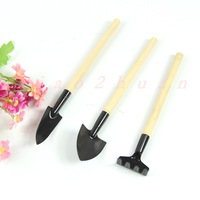 1Set Mini Garden Tools Shovel Rake Spade Wood Handle Metal Head Kids Tool