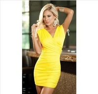 European and American models sexy package hip double V-neck lace dress!
