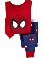 Freeshipping 2T-7T Autumn children's Clothing boys Sets Pajamas Sleepwear  cartoon Spider-Man baby Girl boy's suit 100% Cotton
