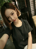 Fashion basic qfr thickening solid color o-neck short-sleeve T-shirt