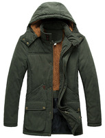 Free shipping !!! Winter thick cashmere men's new fashion casual long section in warm padded jacket XL / L-4XL
