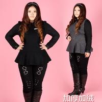 2013 plus size clothing plus velvet mm all-match lace ruffle slim woolen basic shirt