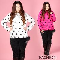 2013 plus size clothing plus size mm sweet cotton-padded jacket lace flower top short jacket